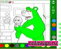 Раскраска Маши и медведя