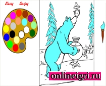 Маша и медведь раскраска чаепитие