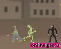 Рисованные зомби и истребитель