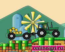 Марио зеленый на тракторе