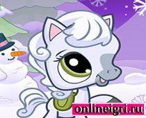 Маленькая пони и снежинки