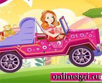 Барби на машине с покупками