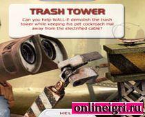 Робот Валли строит башню