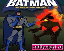 Бетмен в драке против странного чела