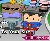Супермен и Бетмен на детских велосипедах
