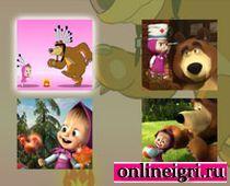 Маша и медведь: 4 красочных пазла