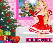 Барби в новогоднем платье