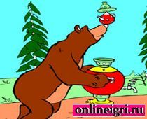 Маша и Медведь на ловкость с самоваром
