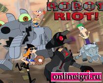 Противостояние Финиса и Ферба с роботами