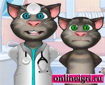 Кот Том у врача с глазами