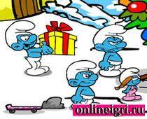 Новогодние заботы Смурфиков