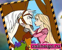 Рапунцель раскраска с конем